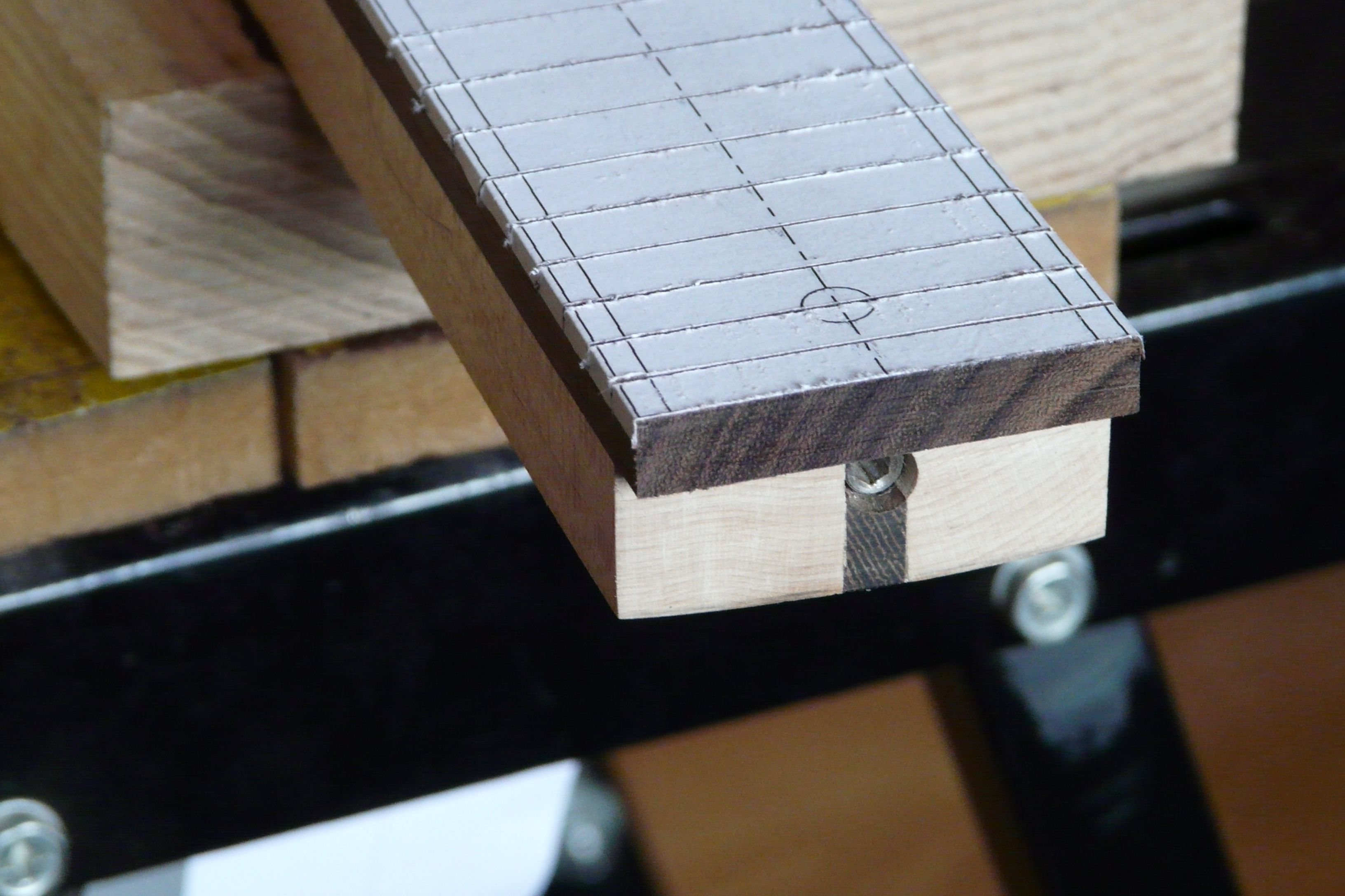 using a template to cut the frets