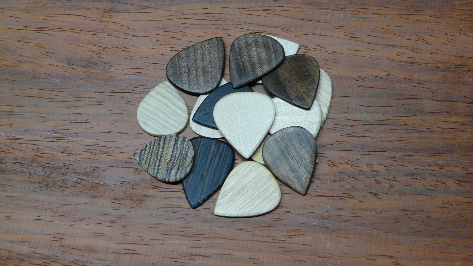 handcrafted wood plectrums