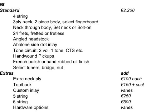 bass price list