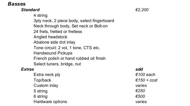 bass price list